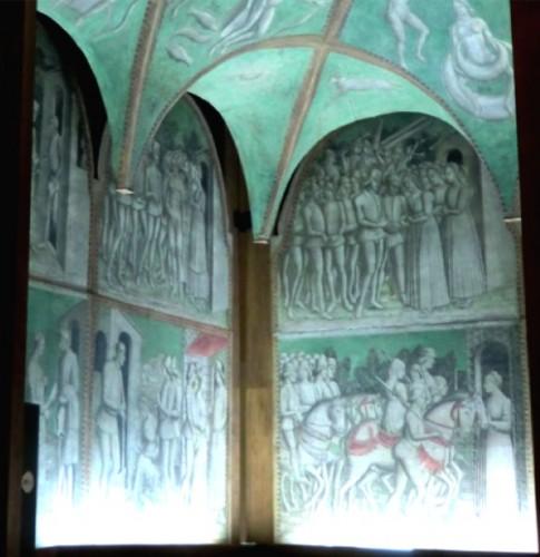 L'histoire de Griselda peinte sur les murs d'une salle, Musée du Château Sforza, Milan