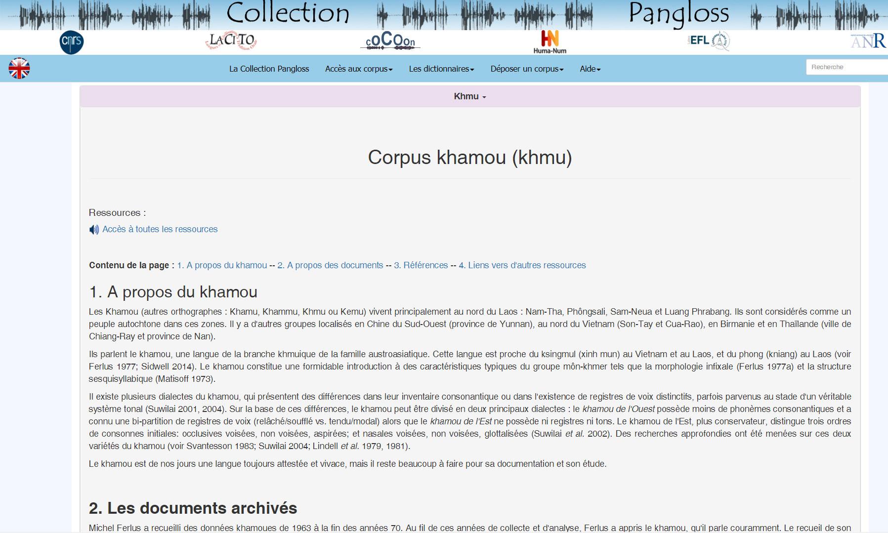 Présentation du corpus khamou (khmu) dans la Collection Pangloss